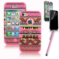 Stylus + For iPhone 4 4S Hard 3-Piece Hybrid High Impact Aztec Tribal Case Cover