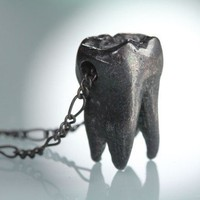 Blackened Sterling Wisdom Tooth Necklace