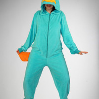 Phineas and Ferb &#x27;Perry&#x27; Hooded Footed Adult Pajamas