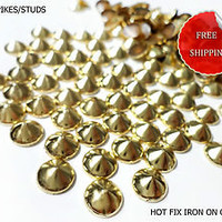 DIY 100 PCS / 8 mm GOLD SPIKES/STUDS Hot Fix Glue Iron On Free Shipping Crafts