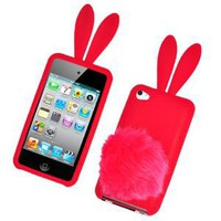 Amazon.com: Bunny Skin Case With Furry Tail for Apple iPod Touch 4th Generation, Red: Cell Phones & Accessories