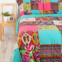 Floral Ikat Patchwork Quilt