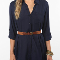 Sparkle & Fade Roll-Tab Shirtdress