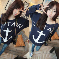 Women Loose Blouse Hook Anchor Printing Round Neck Casual T-Shirt Tops Shirt New