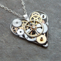 "Mechanical Heart Necklace ""Aware"" Elegant Industrial Heart Steampunk Necklace Clockwork Love Sculpture by A Mechanical Mind"