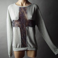 Metallic Sheer Cross Design Urban Oversized Sweater Knit 02 mv Top Shirt L XL