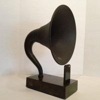 Acoustic  iPhone Speaker Dock Utilizing a Vintage Antique Atwater Kent Gramophone Phonograph Horn -MADE to ORDER-