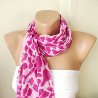 Pink Leopard design with lace scarf