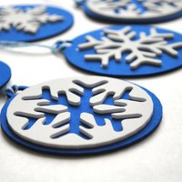 6 Foam Christmas Ornaments, Royal Blue and white Christmas tags Original design Die cut Ornaments A215