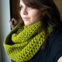 Crochet Infinity Scarf- Lemongrass- Bright Green