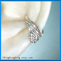 Tiny Ear Cuff wrap in silver Angel wing by RingRingRing on Etsy