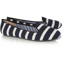 Charles Philip Shanghai|Sheila striped wool loafers |NET-A-PORTER.COM