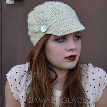 brim cable knit hat beanie visor womens from ebay
