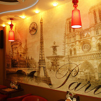 "STICKER MURAL Paris vintage classic gold autumn wallpaper decole poster film 158x95""(400x240cm)"