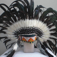 Shining WHite and Dark Green Feather Headdress
