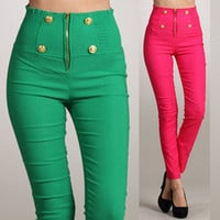 Button Front Pants High Waist Zipper Skinny Slim Colored Dress Leggings Trousers