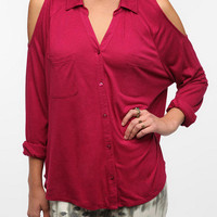 Staring at Stars Cold Shoulder Button-Down Shirt