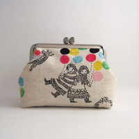 metal frame cosmetic pouch girls with balloons on by thezakka
