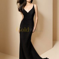Mermaid V-Neck Court Train Satin Evening Dress - US$156.99 - Goldwo.com