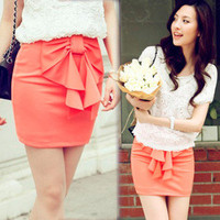 Casual Womens Fitted Mini Skirts Candy Color Lovely Bowknot Dress Straight 4748
