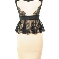 Lace Peplum Dress - Kely Clothing