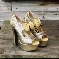 Enchanted Gold Party Shoes, Sweet Glittering Party Shoes