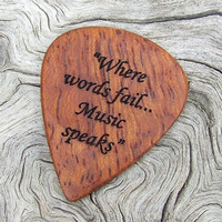 Afzelia Xylay Guitar Pick - Handmade Dual Design Laser Engraved Exotic Wood Premium Guitar Pick