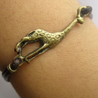 Bracelet--antique bronze giraffe bracelet& leather chain