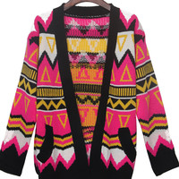 Rose Red Contrast Black Trim Geometric Tribal Cardigan Sweater - Sheinside.com
