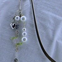 Shepard Hook Bookmark with Pearls handmade chain and heart charm