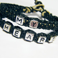 My Heart Bracelets for couples Set of 2 Black Hemp