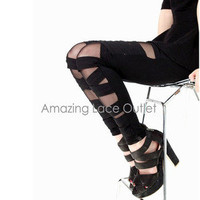 Criss Cross Leggings Cut Out Ripped Torn Stretchy Thights Trendy Pants New S-M-L