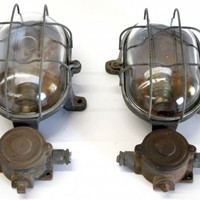 Pair of French Art Deco modernist  Cubist Industrial sconces cast iron  | Second Shout Out, Vintage Marketplace