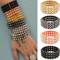New Spiked Bracelets Fashion Urban Spike Stretch Womens Girls Punk Jewelry Trend