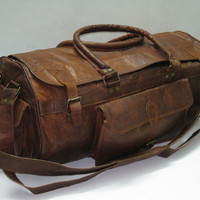 "Handmade 24"" Leather Duffel sports gym utility travel cabin weekend outing overnight bag"