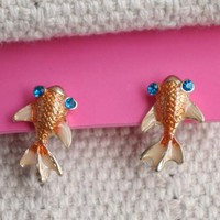 New Betsey Johnson Stud Earrings Christmas FS Gold Tone Rhinestone Enamel Fish