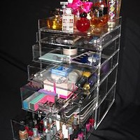 CLEAR ACRYLIC/LUCITE MAKE UP ORGANIZER WITH FREE SHIPPING & FREE DIVIDERS