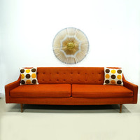 Orange Sofa Mid Century Modern  Free Shipping