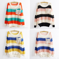 Korean Women Knitted Coat Hollow Pocket Loose Candy Color Stripe Jumper Sweater
