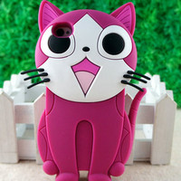 Newest 3D Cat Silicon e Soft Back cover Case for Apple iPhone 4 G 4S Pink ST76