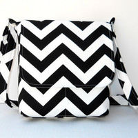 Small Messenger Bag, Small Chevron Purse - Black and White Zig Zag - Ready to Ship