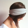 Gray Jersey Twisted Headband - Turban Wide Hippie Boho Headband head bands Hair Coverings