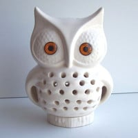 Ceramic Owl TV Lamp Vintage Design In White