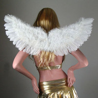 Large White Feather Angel Wings Halloween Costume HALO photos props fairy