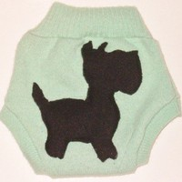 Cashmere Soaker, Diaper Cover with Scotty Dog Size Small, Unisex
