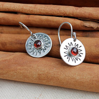 You are my Sunshine silver earrings. Garnet. Red. Sun. hand stamped. sterling silver sun earrings. OOAK. Gift