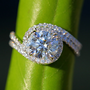 READY to Ship - Wedding Set - 14k White gold - Diamond Engagement Ring and matching band - Halo - UNIQUE - Thin Swirl - Pave - Bp0013