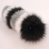 Stuffed Toy Black Gray & White Snuggle Worm Fuzzy Caterpillar