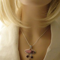 Delightful Rhondonite and Agate Sterling Silver Necklace
