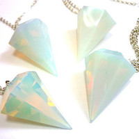 OPAL Faceted DIAMOND Crystal Quartz Point Necklace by AstralEYE